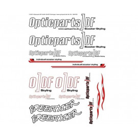 Sticker Set Opticparts DF DIN-A3 White - Universal
