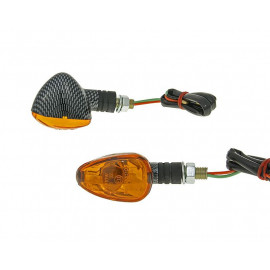 Knipperlicht Set M10 Carbon-Look Doozy orange, kort